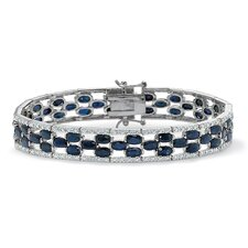 <strong>Palm Beach Jewelry</strong> Oval Cut Sapphire Tennis Bracelet