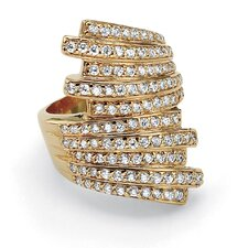 14k Yellow Gold Round Cut Cubic Zirconia Bypass Statement Ring