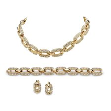 14k Yellow Gold Round Cut Crystal Jewelry Set