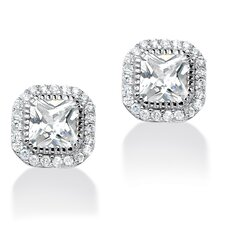Princess Cut Cubic Zirconia Stud Earrings
