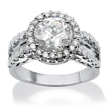 <strong>Palm Beach Jewelry</strong> Round Cut Cubic Zirconia Halo Ring