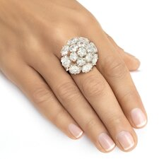 Platinum Star Cut Cubic Zirconia Statement Ring