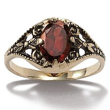 14k Yellow Gold Oval Cut Garnet Ring
