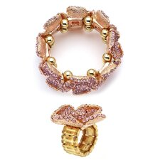 Rose Plated Crystal Stretch Ring and Bracelet Set