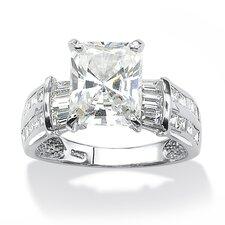 Platinum Over Silver Emerald Cut Cubic Zirconia Ring