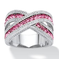 Silvertone Princess Cut Pink Cubic Zirconia Crossover Ring