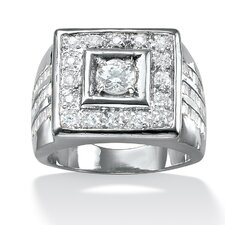 <strong>Palm Beach Jewelry</strong> Men's Platinum-Plated Square Cut Cubic Zirconia Ring