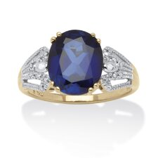18k Gold Over Silver Oval Cut Gemstone Ring