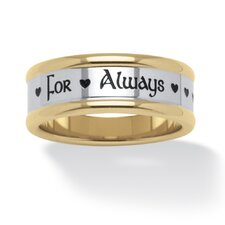 "Gold Ion-Plated Stainless Steel ""For Always"" Ring"