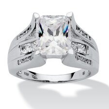<strong>Palm Beach Jewelry</strong> Platinum Over Silver Emerald Cut Cubic Zirconia Ring