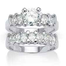 Platinum Over Silver Cubic Zirconia Bridal Ring Set