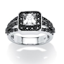 Platinum Over Silver Cushion Cut Cubic Zirconia Ring