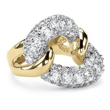 14k Gold-Plated Cubic Zirconia Link Ring