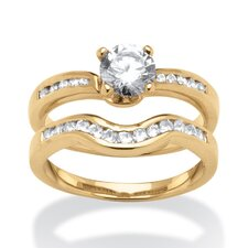 2 Piece Cubic 18k Gold-Plated Zirconia Bridal Ring Set