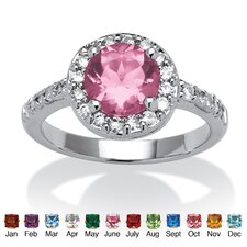 Sterling Silver Round Cut Cubic Zirconia Crystal Birthstone Ring