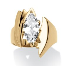 Gold Ion-Plated Marquise Cut Cubic Zirconia Ring