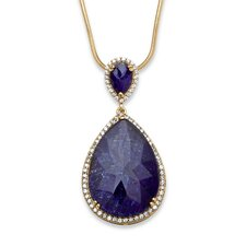 <strong>Palm Beach Jewelry</strong> 18k Gold Over Silver Sapphire Pendant