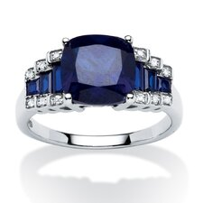 Lab Created Platinum Over Silver Sapphire Ring