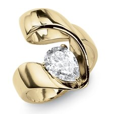 Gold Ion-Plated Cubic Zirconia Ring