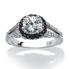 Platinum Over Silver Cubic Zirconia Ring