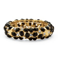<strong>Palm Beach Jewelry</strong> Black Cabochon and Crystal Bracelet
