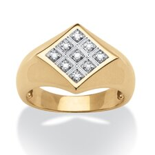 Men's 18k Gold Over Silver Round Cut Diamond Ring