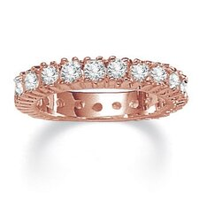 Rose Plated Cubic Zirconia Eternity Band Ring