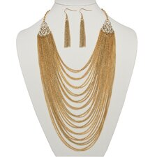 Goldtone Crystal Multi-Chain Jewelry Set