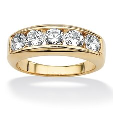 <strong>Palm Beach Jewelry</strong> Men's 18k Gold Over Silver Round Cut Cubic Zirconia Ring