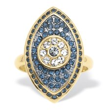 14k Gold-Plated Pave Blue Crystal Eye Ring