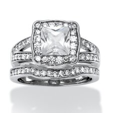 <strong>Palm Beach Jewelry</strong> Platinum Over Silver Princess Cut Cubic Zirconia Ring Set