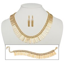 3 Piece Goldtone Crystal Spray Jewelry Set