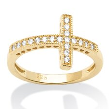 14k Gold Over Silver Horizontal Cross Cubic Zirconia Ring