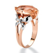 Simulated Morganite 18k Gold Over Silver Peach Crystal Cocktail Ring
