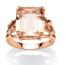 18k Gold Over Silver Emerald Cut Blush Crystal Ring