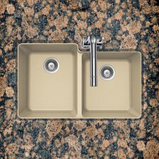 "33"" x 20.5"" Madison Series 60/40 Double Bowl Undermount Kitchen Sink"