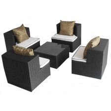 <strong>Deeco</strong> Geo-Cube All Weather Wicker Lounge Seating Group with Cushions