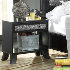 Black Earth 1 Drawer Nightstand