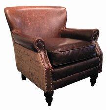 Petite Leather and Burlap Script Arm Chair