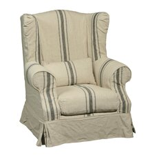 Linen Striped Wing Chair