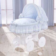 Lollipop Wicker Hood Crib in Blue
