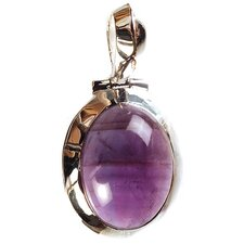 Amethyst Oval Pendant in Sterling Silver