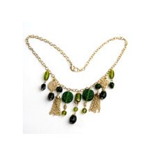 Green Glass Beads and Brass Necklace