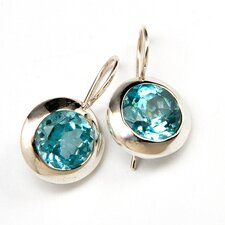 Blue Topaz Gold Plated Sterling Silver Earrings