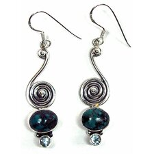 Handcrafted Turquoise and Blue Topaz Sterling Silver Earrings