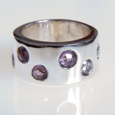 Handmade Amethyst and  White Zirconia Sterling Silver Ring