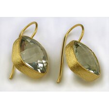 Handmade Sterling Silver Green Amethyst Gold Plated Earrings