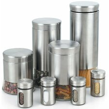8 Piece Canister & Spice Jar Set in Silver (Set of 8)