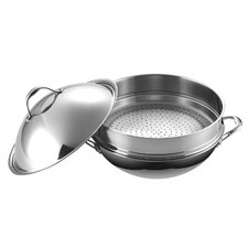 Chef's Saute Pan with Steamer and Lid
