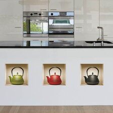 3D Effect Teapot Wall Decal (3-Piece Set)